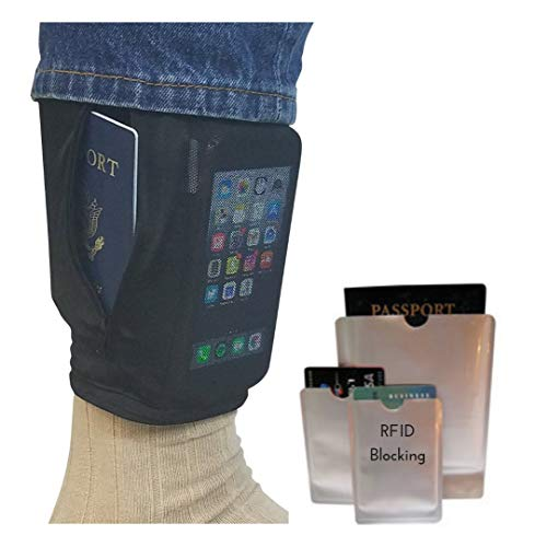 Hidden Leg Money Belt Wallet with RFID Blocking Slide on Security Pouch Under Pants, Conceal Valuables Travel