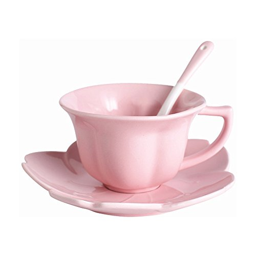 CHOOLD Elegance Cherry Blossom Ceramic Tea Cup and Saucer Set Coffee Cup with Saucer Spoon Coffee Mug Set 6oz(Pink) ()
