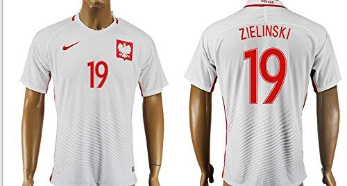 Uefa Euro 2016 Poland 19 Piotr Zieli?ski Soccer Shirt European Championship Jersey Mens Short Sleeve