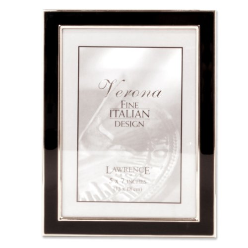 Lawrence Frames Silver Plated 5 by 7 Metal with Black Enamel Picture Frame