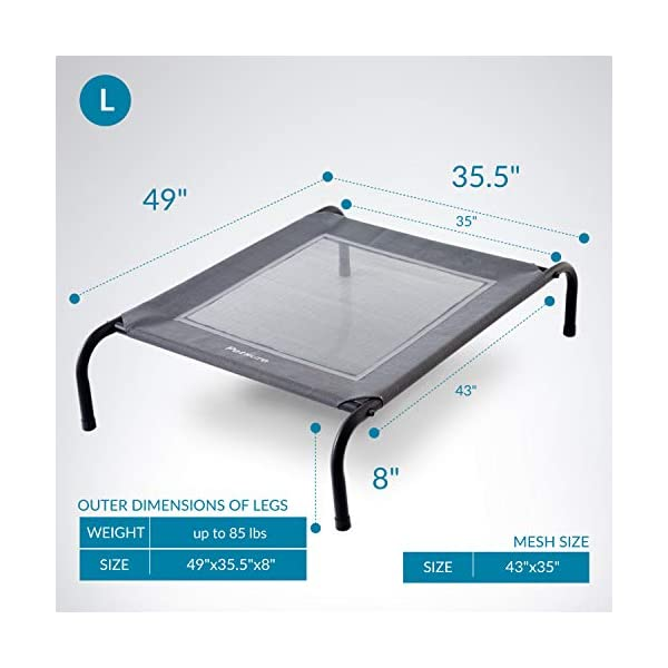 Petsure 35/43/49 inches Elevated Dog Bed Cot - Cooling Raised Dog Cots for Large Medium Small Dogs, Outdoor Pet Bed with Skid-Resistant Feet, Durable Frame, Breathable Mesh 5