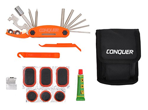 Conquer Multi Function Bike Tool with Patch Kit & Tire Levers 18 Function