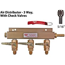 Air Distributor - 3 way, With MFL Check Valves, 5/16 Barb/Stem, Swivel Nut, white washer by Kegconnection