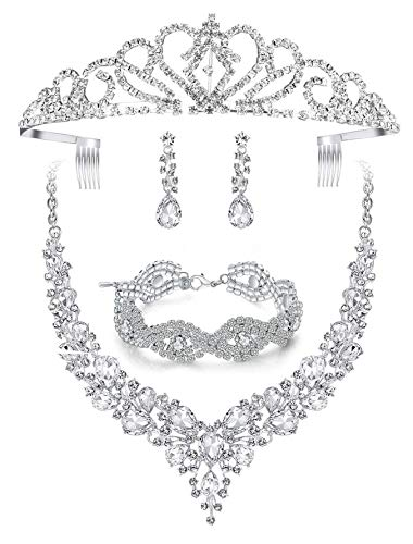 Paxuan Silver Wedding Bridal Prom Crystal Rhinestone Necklace Earrings Bracelet Tiaras Crown Jewelry Sets for Bride Bridesmaid Wedding Dress (White-Necklace + Earrings + Bracelet + Tiaras)