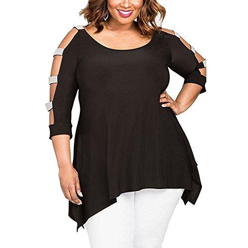 YINJIONG Women's Plus Size Cut Out Sleeve Sequins Shirt Blouse Tops - Peplum Sequin