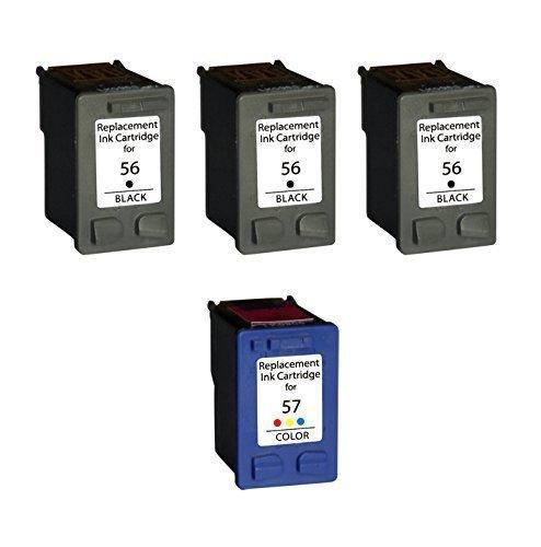 Ink 4215 (3/Pack 56 Black + 1/Pack 57 Color ink cartridges for HP combo Compatible with: OfficeJet 4215 v xi 5500 5505 5510 v xi PhotoSmart 7960 w PSC 1110 1209 1311 1315 PSC 1118 1200 1205 1209 1210 v xi)