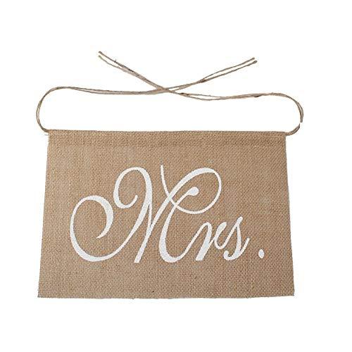 Burlap Chair Sash Mr And Mrs - Wedding Chairs - Rustic Wedding Banners