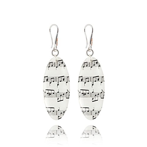 Music Notes Black and White Handmade Jewelry Earrings for Lovers by Dragon Porter