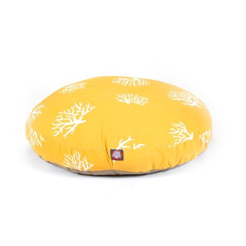 Yellow Coral Large Round Indoor Outdoor Pet Dog Bed With Removable Washable Cover By Majestic Pet Products by Majestic Pet by Majestic Pet