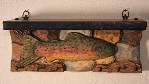 (Entryway Shelf rainbow trout hand carved wood key hook organizer, rustic fish, lake cabin decor, hunting lodge, man cave, gift for fisherman)