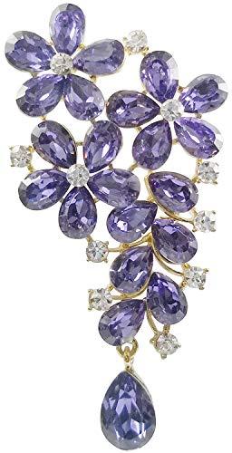 Bijoux De Ja Gold-Plated Base Floral Festoon Crystal Rhinestone Brooch Pin (Purple)