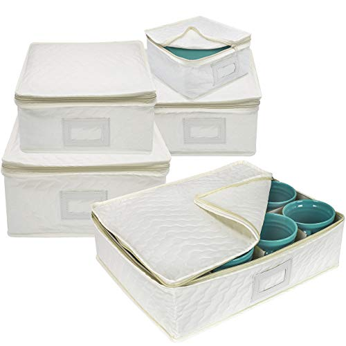 Sorbus 5-Piece Dinnerware Storage Square Set, Service for 12, Quilted Protection, Includes Felt Protectors and Cardboard Dividers for Plates, Cups, Fine China (Square Storage - Beige)