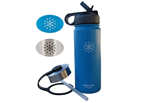 Smart Flask Wide Mouth Stainless Steel Water Bottle, 18 Oz, Vacuum Insulated, Includes Leakproof Metal Lid, and Convenient Straw Cap, Fits Most car Cup Holders.