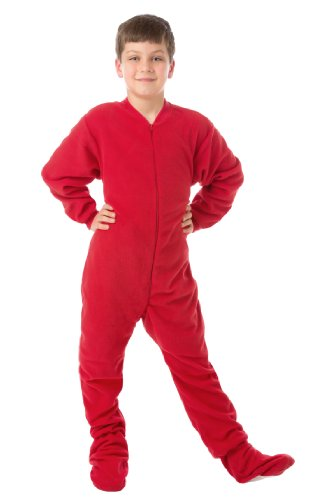 Big Feet PJs Little Boys Infant Toddler Red Fleece Footed Pajamas 12M - 4T -
