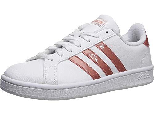adidas Women's Grand Court Sneaker, White/raw Pink/Light Granite, 9 M US