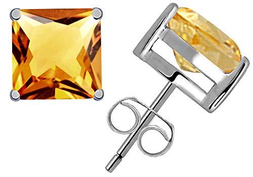Earrings Jewelry Citrine Cut - 1.2 Ct Yellow Citrine Gemstone Birthstone 925 Sterling Silver Stud Earrings Princess-Cut 5x5mm For Women