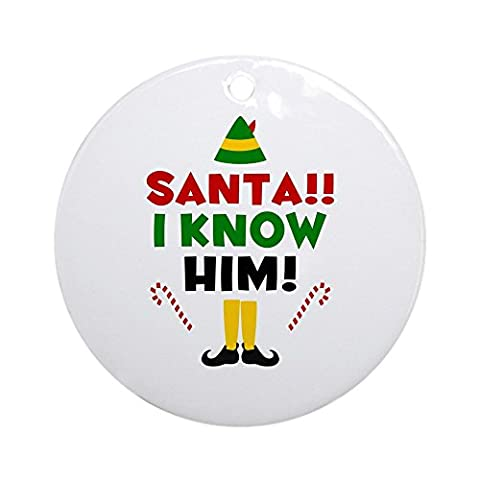 CafePress - Santa I Know Him - Round Holiday Christmas Ornament - Santa Christmas Ornament Shoes
