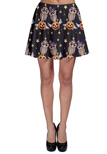 Halloween Skirt (CowCow Black Halloween Two Cartoon Owls with Pumpkins Skater Skirt)