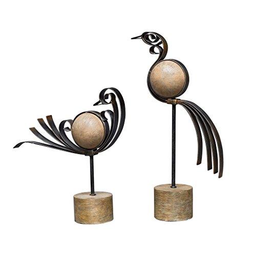 (Uttermost 17102 Anvi Antique Bronze Tabletop Bird Sculptures, 2-Piece Set)