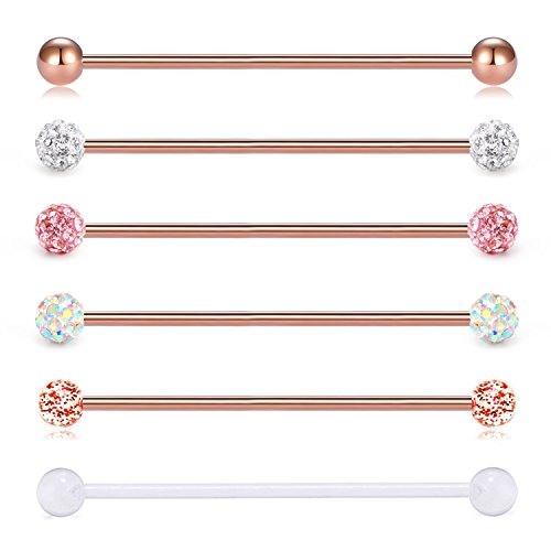 Bar Barbell Piercing - vcmart 14G 6PCS 38mm Stainless Steel Industrial Barbell Ear Cartilage Helix-Conch Piercing Bar 1 1/2 Inch
