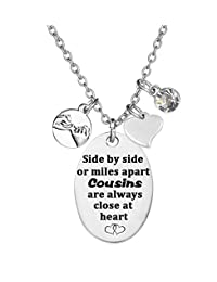 TISDA Cousin Gift,Cousin Jewelry,Cousin Necklace,Side by Side or Miles Apart Cousins are Always Close at Heart