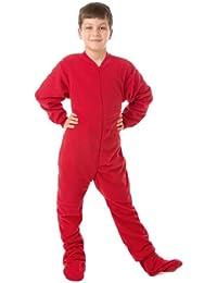 Kids Red Fleece Boys & Girls Footed Pajamas Onesie