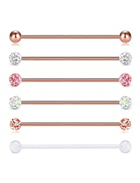 D.Bella 14G 6PCS 38mm Stainless Steel Industrial Barbell Ear Cartilage Helix-Conch Piercing Bar 1 1/2 Inch