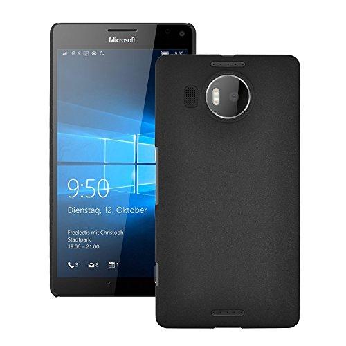 SDO Luxury Matte Finish Rubberised Slim Hard Case Back Cover for Microsoft Lumia 950 XL   Black + Micro USB OTG Cable