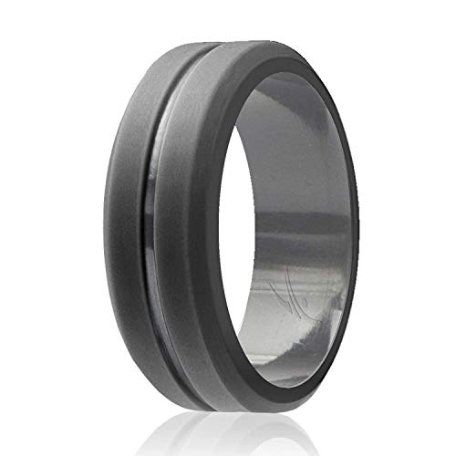 Single Dark - ROQ Silicone Wedding Ring for Men, Single Elegant, Affordable Silicone Rubber Wedding Bands, Brushed Top Beveled Edges -Grey - Size 16