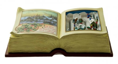 MusicBox Kingdom 53043 Christmas Picture Book with a Driving Train Music Box, Plays 8 Different Melodies