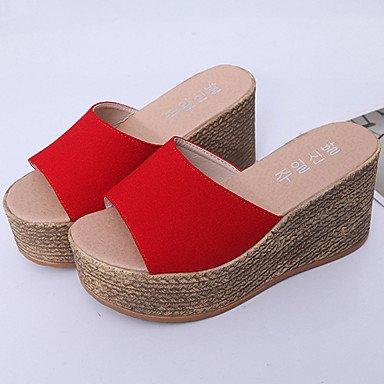 LvYuan Mujer-Tacón Plano-Confort Talón Descubierto-Sandalias-Vestido Informal-Tejido-Negro Rojo Beige Black