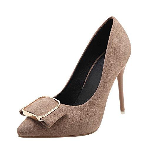 Mee Shoes Damen Stiletto Nubuck runde Pumps Camel