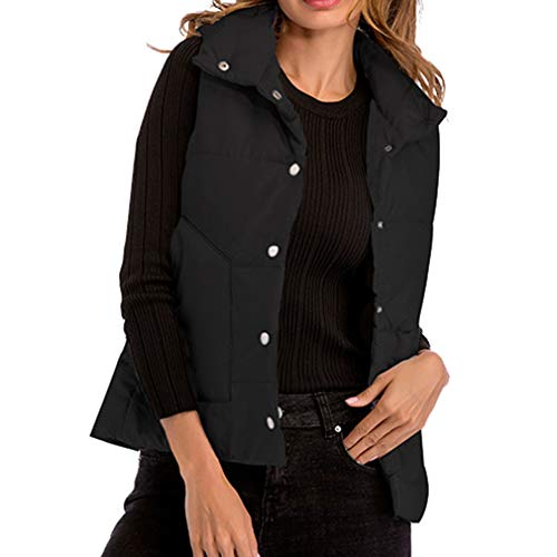 Nouveau Femmes Col Costume Veste Hiver Coton Noir Chaud Sans Manches Automne Mxssi Bas Gilet En nIz8xddq