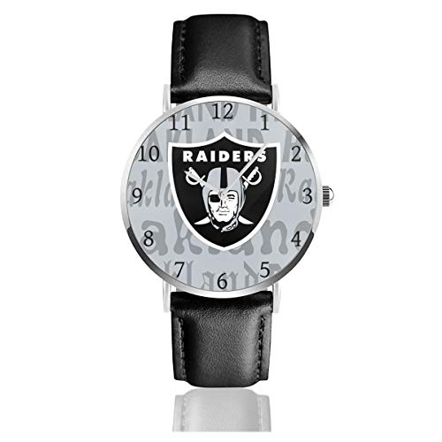 Gdcover Custom Oakland Raiders Unisex Casual Quartz Wrist Watches with PU Leather Band