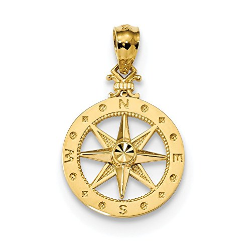 Jewelry Stores Network 14k Yellow Gold Polished Nautical Compass with Accents Pendant 21x15mm