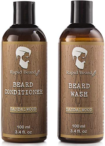 Beard Shampoo and Beard Conditioner Wash & Growth kit for Men Care – Softener & Moisturizer for Hydrating, Cleansing and Refreshing Beard and Mustache Gift Set (Sandalwood, 100ml (3.4 fl oz))