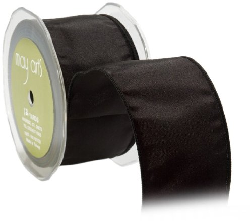 May Arts 2-Inch Wide Ribbon, Black Taffeta