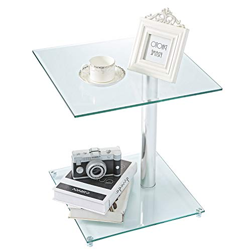 Rfiver Square Coffee Table Small Side Table End Table, Save Space Corner Table for Living Room Bedroom, Clear Tempered Glass W17.7 x D17.7 x H18.9, ET7001 ()