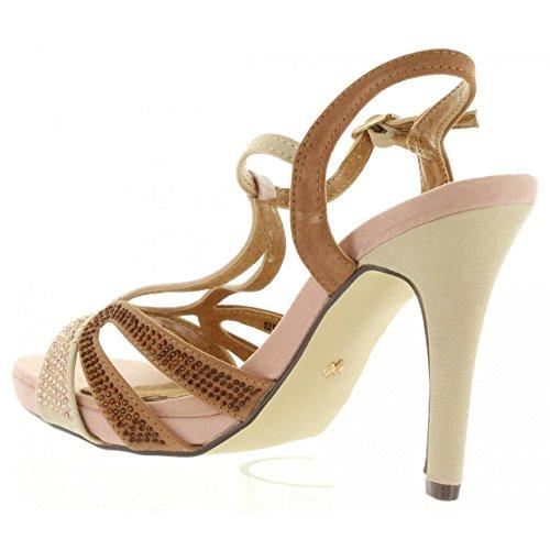 NUDE Heel Sandale Beige