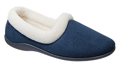 Womens Ladies Slippers / Navy Blue Warm Lined Slip On Dunlop qJcYiRZtA