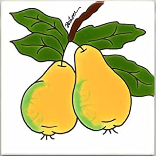 product image for FRUITS-VEGETBLES-TRIVETS-WALL PLAQUES-PEARS TILE by Besheer Art Tile, Bedford, New Hampshire, U.S.A.