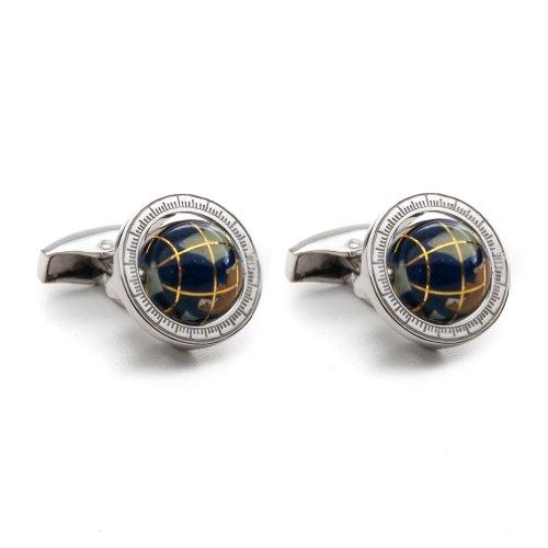 BTS8300 Tateossian Lapis Globe Cage Designer Cufflinks, Blue and Silver