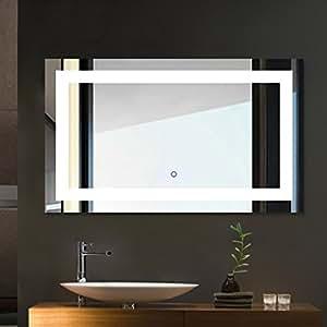 Tonffi led iluminado espejo de ba o espejo de ba o for Espejo horizontal salon