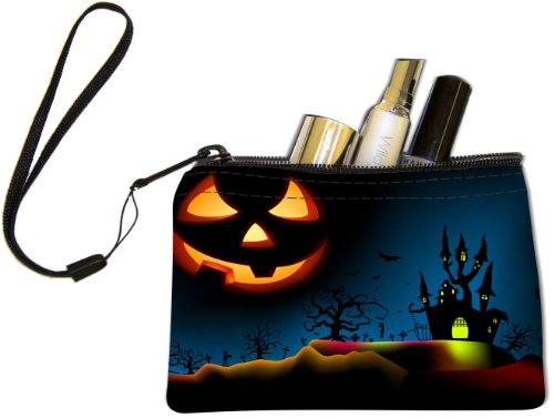Rikki Knight Halloween Haunted House on Blue with Evil Jack Design Keys Coins Cards Cosmetic Mini Clutch (Freaky Halloween Makeup)