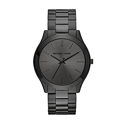 The Black IP Michael Kors Slim Runway watch is polished perfection. A classic three-link bracelet and monochromatic…
