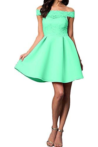 A Abendkleider Ivydressing U Ballkleid Spitze Ausschnitt Partykleider Kurz Linie Grün Damen OOIEp