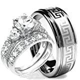 Wedding Ring set, His & Hers 3 Pieces, Hearts 925 STERLING SILVER & TUNGSTEN Engagement Set, AVAILABLE SIZES men's 7,8,9,10,11,12; women's set: 5,6,7,8,9,10. CONTACT US BY EMAIL THROUGH AMAZON WITH SIZES AFTER PURCHASE!