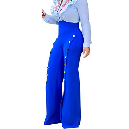 Raylans Womens High Waist Flared Wide Leg Split Trousers Loose Pants Blue M (Seersucker Wide Leg Pants)