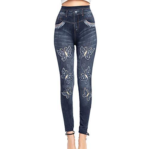 Dihope, Dameslegging, leggings, skinny, dun, hoge taille, vlinder, bedrukt, slim fit, stretch, elastisch, casual…