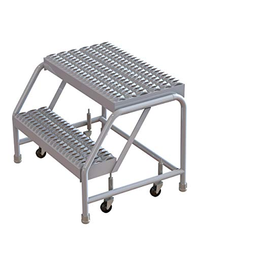 Tri-Arc WLAR002245 2-Step All-Welded Aluminum Rolling Industrial & Warehouse Ladder with Grip Strut Tread, 24-Inch Wide Steps